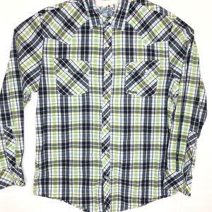 Bullhead Mens Pearl Snap Plaid Western Shirt XL.